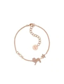 Pink Crystal Diorable Lion Rose Gold Finish Bracelet by Dior