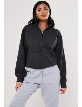 Grey Fleece High Neck Sweatshirt by Missguided