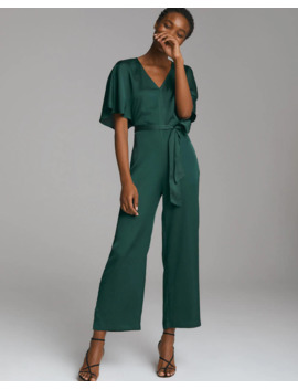 Satin Angel Sleeve Jumpsuit by Abercrombie & Fitch