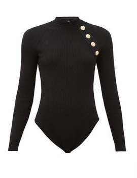 Shoulder Button Ribbed Knit Bodysuit by Balmain