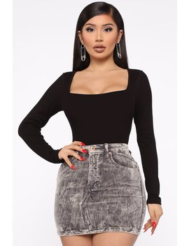 Addison Long Sleeve Square Neck Ribbed Bodysuit   Black by Fashion Nova