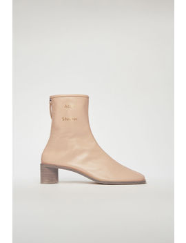 Branded Leather Boots Ecru Beige by Acne Studios