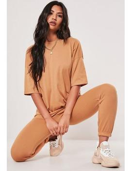Camel Oversized T Shirt And Joggers Set by Missguided