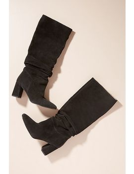 Ruched Knee High Suede Boots by Anthropologie