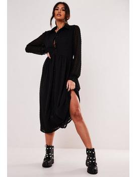 Black Dobby Smock Shirt Midaxi Dress by Missguided