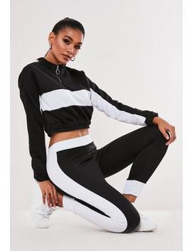 Black Colourblock Sweatshirt And Joggers Co Ord Set by Missguided