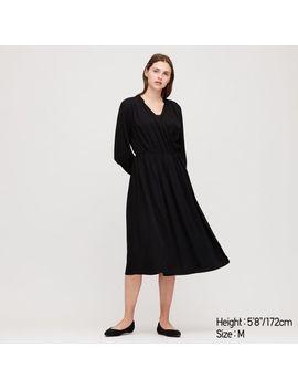 Women Rayon Long Sleeve Wrap Dress by Uniqlo