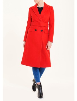 Red Double Breasted Belted Coat by Matalan