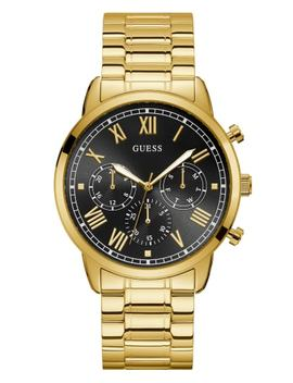 Gold Tone And Black Multifunction Watch by Guess
