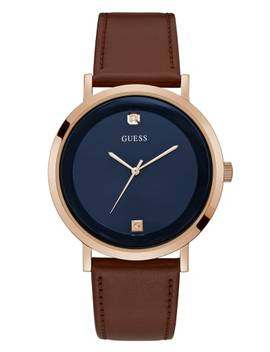 Rose Gold Tone And Brown Leather Watch by Guess