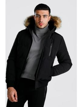 Padded Faux Fur Puffer Bomber by Boohoo