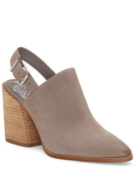 Chemine Leather Slingback Pointed Toe Block Heel Shooties by Vince Camuto