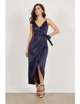 Have One Drink Navy Satin Midi Dress by Tobi