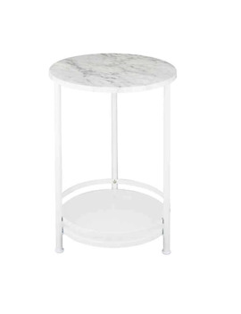 2 Tier Round Side Table In White/Silver by Bed Bath And Beyond
