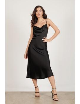 Grant Your Wish Black Satin Cowl Neck Midi Dress by Tobi