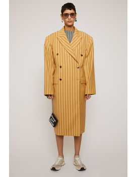 Double Breasted Pinstripe Overcoat Pale Orange by Acne Studios