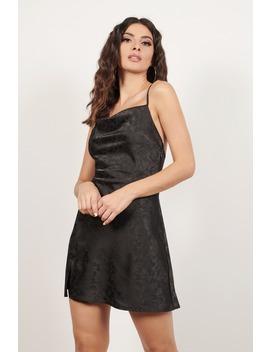 Ask Around Black Floral Satin Jacquard Shift Dress by Tobi