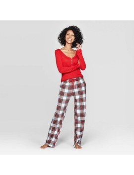 Women's Plaid Henley Sleep Pajama Set   Stars Above™ Red by Stars Above