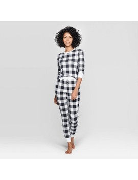 Women's Buffalo Check Thermal Sleep Pajama Set   Stars Above™ Black by Stars Above