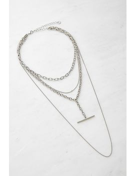 Multi Layer T Bar Chunky Chain Necklace by Urban Outfitters