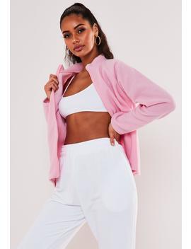 Pink Fleece Zip Through Sweatshirt by Missguided