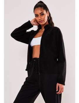 Black Fleece Zip Through Sweatshirt by Missguided