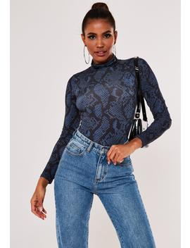 Blue Snake Print Funnel Neck Bodysuit by Missguided