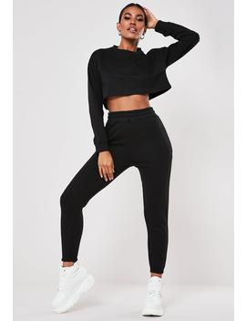 Petite Black Cropped Sweatshirt And Joggers Co Ord Set by Missguided