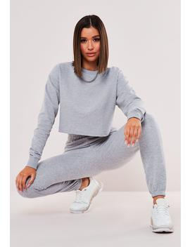 Tall Gray Co Ord Cropped Jogger Set by Missguided