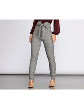 Glen Check Skinny Woven Pants by Windsor