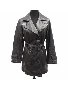 Vintage 90s Wilsons Leather Womens Black Leather Double Breasted Belted Mid Length Trench Coat Size Small by Etsy