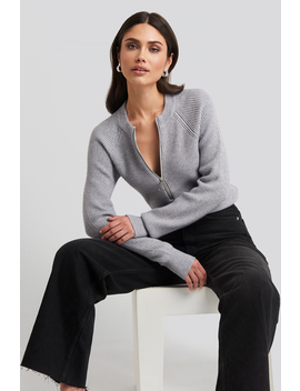Zipper Front Knitted Sweater Grau by Na Kd