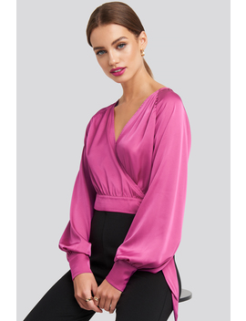 Wrap Front Cropped Blouse Rosa by Na Kd Party