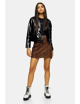 Leopard Print Leather Mini Skirt by Topshop