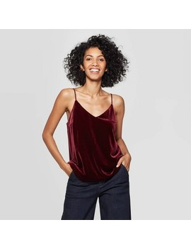 Women's Regular Fit V Neck Metallic Velvet Cami   A New Day™ by A New Day