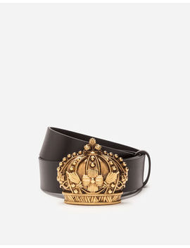 Leather Belt With Crown Buckle by Dolce&Gabbana