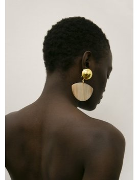 Rachel Comey Susa Earrings  Striped Bone Gold by The Frankie Shop