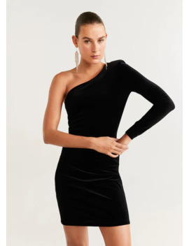 Asymmetrisches Samtkleid by Mango