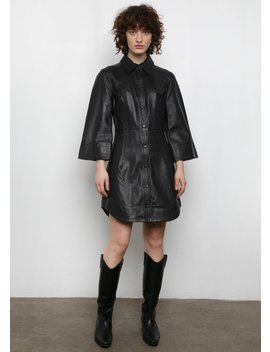Ganni Flared Sleeve Leather Dress In Black by The Frankie Shop