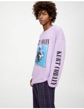 Lila T Shirt Kurt Cobain by Pull & Bear