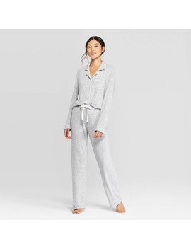 Women's Perfectly Cozy Notch Collar Pajama Set   Stars Above™ Light Gray by Stars Above