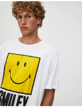 Vit T Shirt Med Illustration Smiley by Pull & Bear