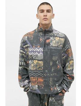 Uo Reverse Printed Half Zip Sweatshirt by Urban Outfitters
