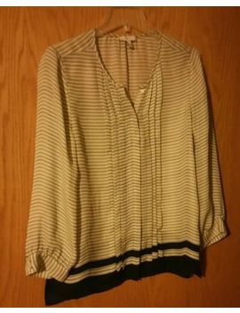 Joie White Navy Stripe Silk Blouse Size M Nwot by Joie