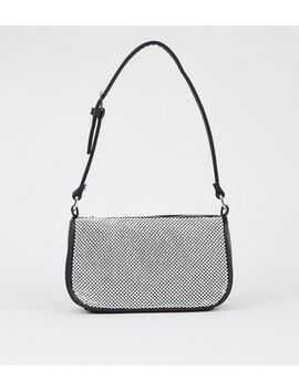Silver Diamanté Embellished Shoulder Bag by New Look