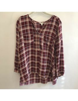 Joie 'nepal' Split Neck Printed Plaid Silk Blouse, Raisin   Size M. Nwot by Joie
