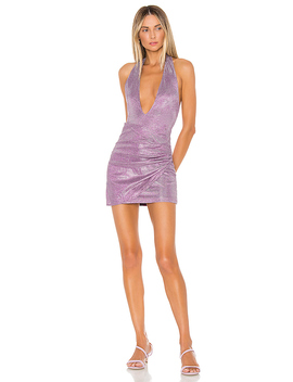Hannah Shimmer Halter Dress by Superdown