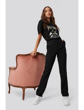 Straight Suiting Pants Black by Ericakvamxnakd