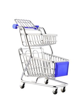 Children Simulation Little Supermarket Shopping Cart Kids Pretend Double Deck Small Shopping Handcart by Generic
