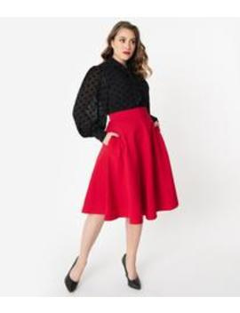 Retrolicious 1950s Style Red High Waist Charlotte Swing Skirt by Unique Vintage